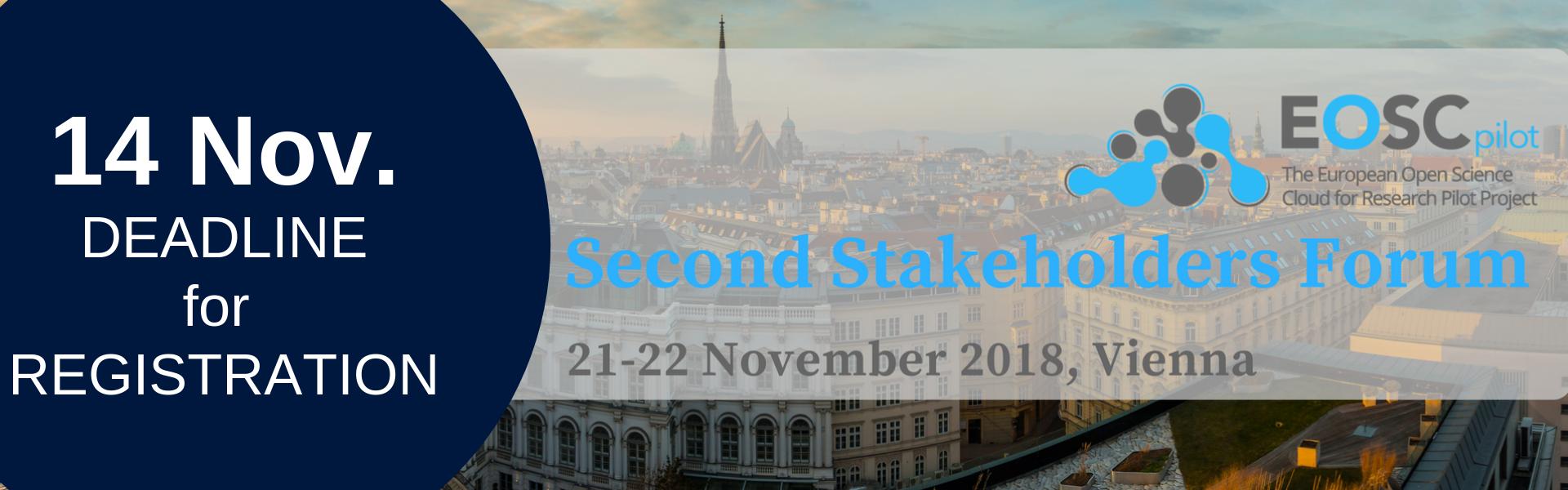 Registration Deadline: 14 November for the EOSC Stakeholders Forum